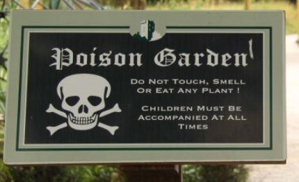 The Poison Garden sign of Blarney Castle